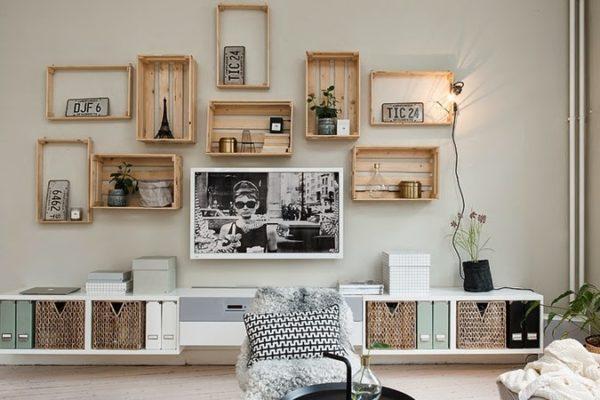 4 pomysły na drewniane skrzynki we wnętrzach